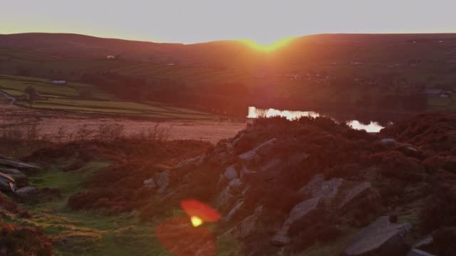 haworth moorland at sunset - drone shot - yorkshire england stock videos and b-roll footage