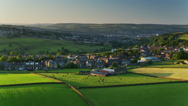 haworth, west yorkshire at sunset - aerial - twilight stock videos & royalty-free footage