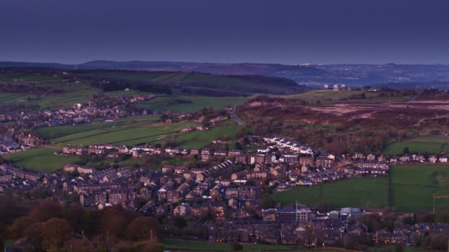 haworth, west yorkshire at twilight - drone shot - west yorkshire stock videos & royalty-free footage