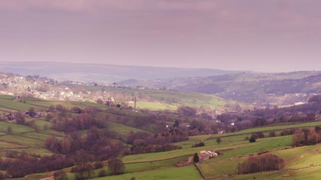 haworth, west yorkshire - drone shot - lancashire stock videos & royalty-free footage