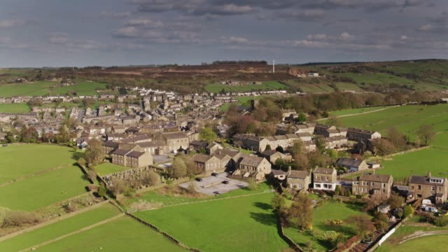 Haworth, West Yorkshire in Spring Sunshine - Drone Shot
