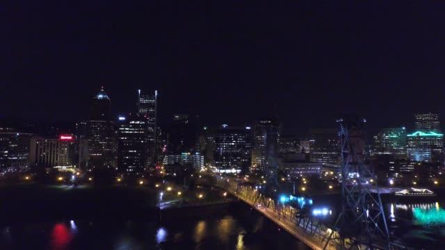 Hawthorne Bridge at Night (Aerial)