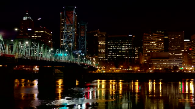 Hawthorne Bridge Downtown Close Portland Oregon Night Time Lapse