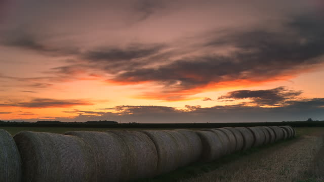HD TIME LAPSE: Hay Bales At Sunset