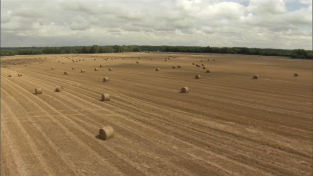 aerial hay bales in field / le treport, haute-normandie, france - bale stock videos & royalty-free footage