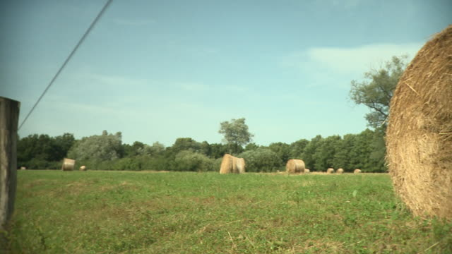ms pan hay bales on meadow, vrhnika, slovenia - vrhnika stock videos and b-roll footage