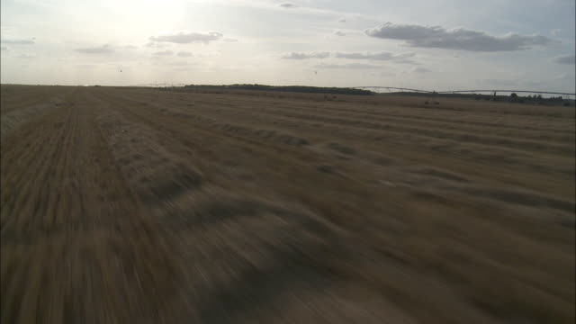 aerial hay field, voves, beauce, france - hay isolated stock videos & royalty-free footage