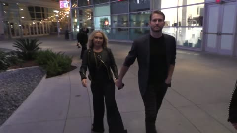hayden panettiere & brian hickerson talk about the movie sharkwater extinction outside the arclight theatre in hollywood in celebrity sightings in... - cinerama dome hollywood stock-videos und b-roll-filmmaterial