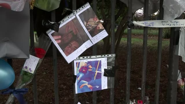 Man charged with three counts of causing death by dangerous driving ENGLAND London Hayes EXT Traffic along past floral tributes near scene where...