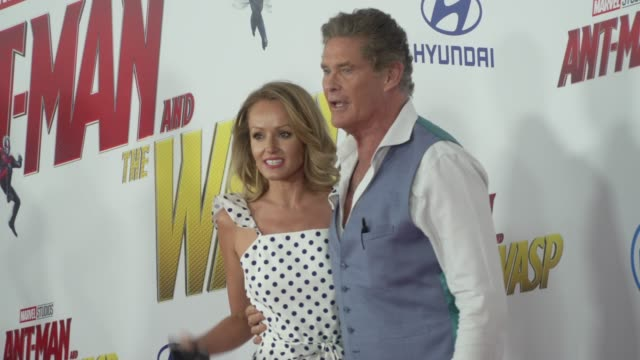 Hayley Roberts and David Hasselhoff at the AntMan and the Wasp World Premiere at the El Capitan Theatre on June 25 2018 in Hollywood California