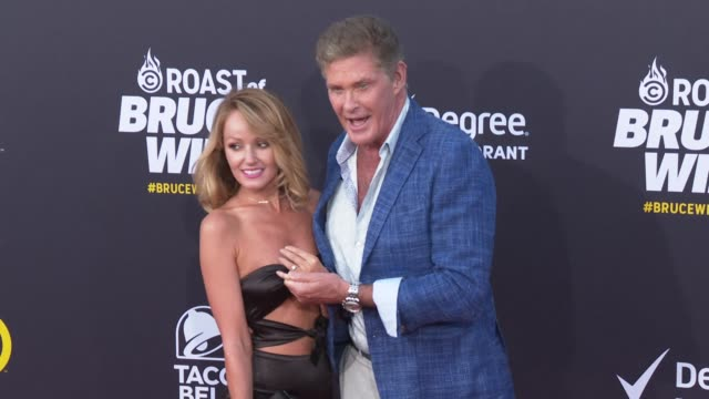 hayley roberts and david hasselhoff at the comedy central roast of bruce willis at hollywood palladium on july 14, 2018 in los angeles, california. - david hasselhoff stock videos & royalty-free footage