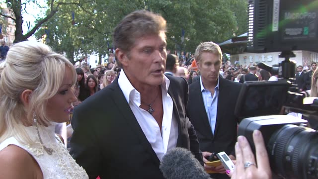 hayley roberts, david hasselhoff at keith lemon the film: uk premiere at odeon leicester square on august 20, 2012 in london, england - david hasselhoff stock videos & royalty-free footage