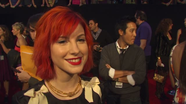 hayley williams of paramore on her dress, on being nominated for a people's choice award, and on what's coming up for her in 2010 at the 36th annual... - people's choice awards stock videos & royalty-free footage