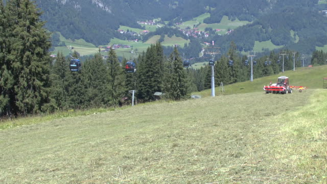 MS Haymaking with tractor at Sollereck near Allgau Alps / Oberstdorf, Bavaria, Germany