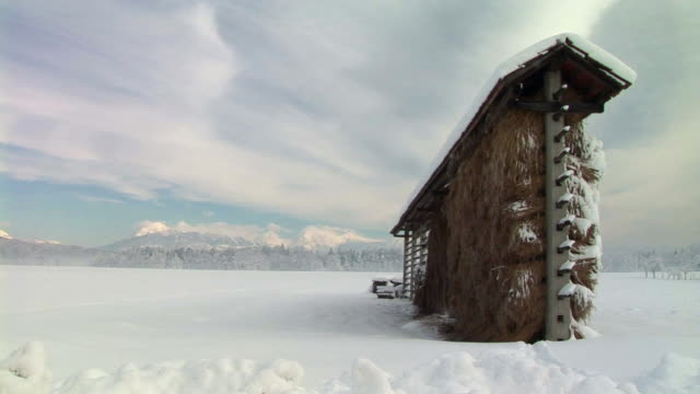 ms, haystack on snow covered field, ljubljana, notranjska region, slovenia - haystack stock videos & royalty-free footage