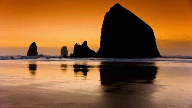 Haystack Rock on sunset