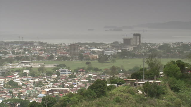 a haze hangs over port of spain, trinidad and tobago. available in hd. - trinidad trinidad and tobago stock videos & royalty-free footage