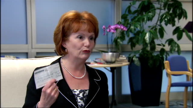 hazel blears mp holding up cheque ext joanna lumley posing with conservate leader david cameron and liberal democrat leader nick clegg after winning... - joanna lumley stock videos & royalty-free footage