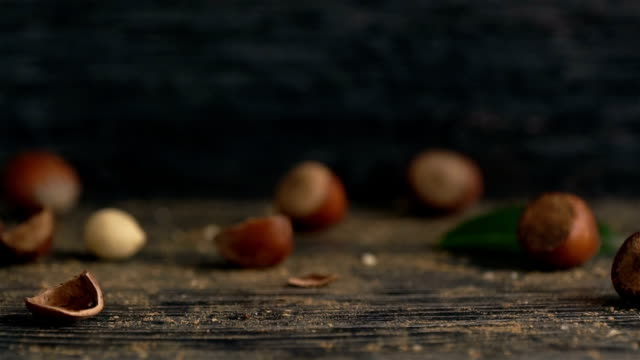hazelnuts are poured out of it on wooden background - hazelnut stock videos & royalty-free footage