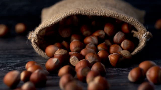 hazelnuts pour out of falling sack on table, slow motion ( - hazelnut stock videos & royalty-free footage
