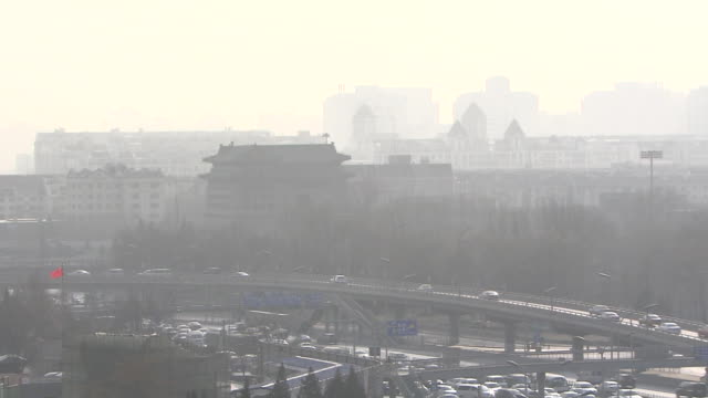 hazy beijing by air pollution, china - luftverschmutzung stock-videos und b-roll-filmmaterial