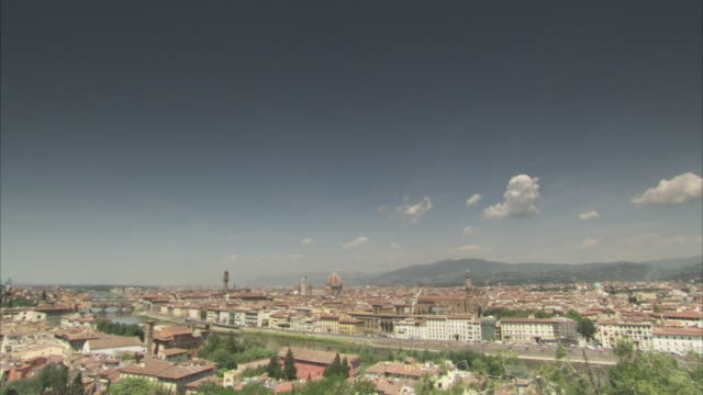 a hazy blue sky arcs above florence italy. available in hd. - tuscany stock videos & royalty-free footage