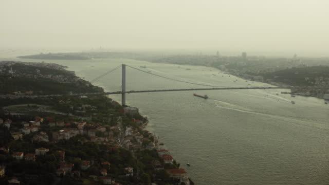 hazy bosphorus strait and bridge - bosphorus stock videos & royalty-free footage