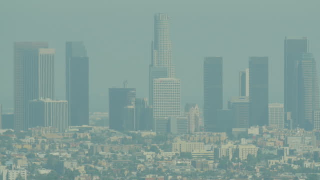 hazy downtown los angeles from hollywood hills - heat haze stock videos & royalty-free footage