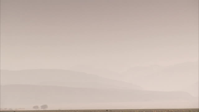 hazy dust obscures desert mountains. available in hd. - dust stock videos & royalty-free footage