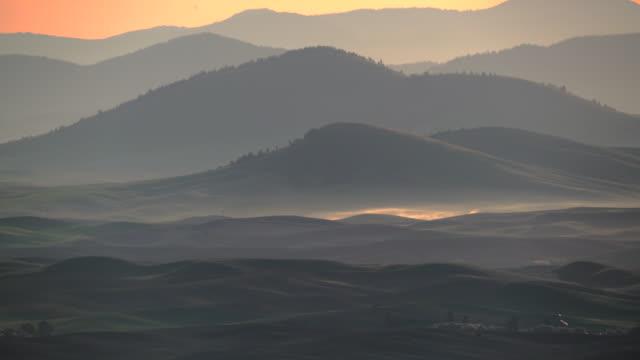 hazy hills palouse - washington state stock videos and b-roll footage
