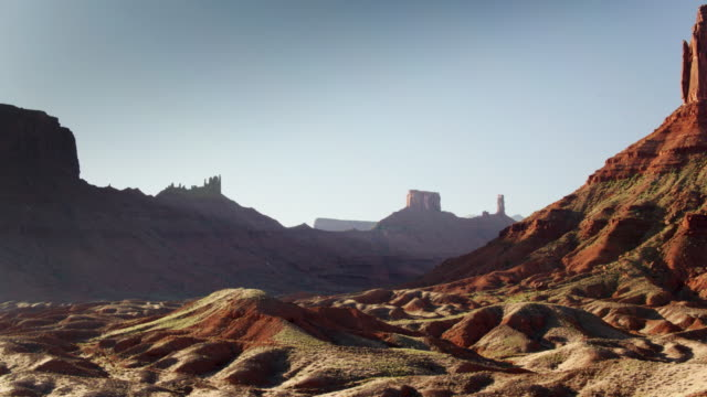 hazy landscape in castle valley, utah - drone shot - moab utah stock videos & royalty-free footage