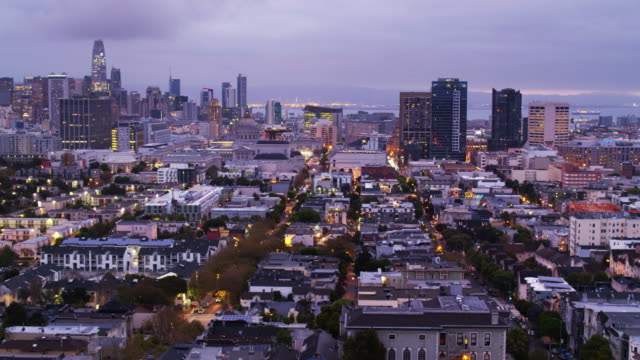 hazy morning in san francisco - drone shot - tenderloin stock videos and b-roll footage
