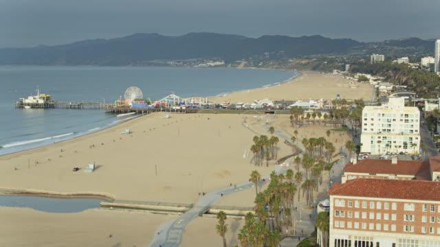 hazy morning in santa monica - aerial view - santa monica pier stock videos & royalty-free footage