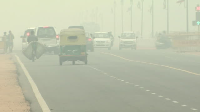 hazy new delhi in severe air pollution, india - smog stock-videos und b-roll-filmmaterial