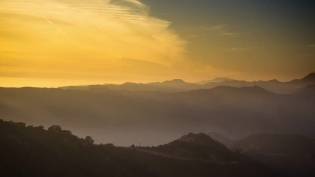Hazy Sunset Over Santa Monica Mountains - Time Lapse