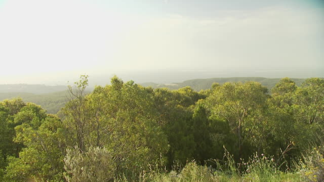 Hazy view from Mount Lofty, Adelaide, Australia,
