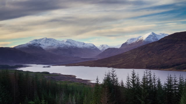 hazy winter afternoon over loch loyne - time lapse - scottish culture stock videos & royalty-free footage
