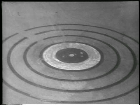 Hbomb target on desert floor / Yucca Flats Nevada / newsreel