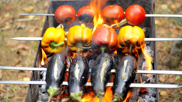 hd verdure alla griglia - grigliare video stock e b–roll