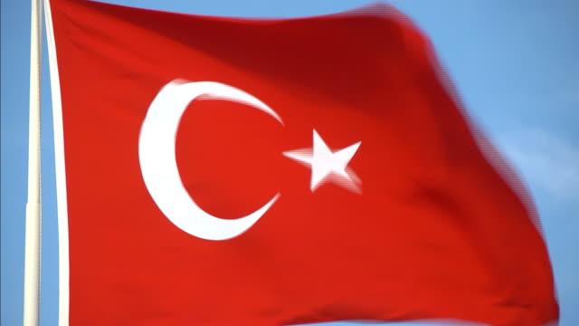 hd flag of turkey - recep tayyip erdoğan stock videos & royalty-free footage