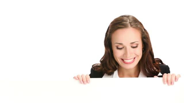 HD1080p: Mulher de Negócios, mostrando a área em branco para texto ou imagem
