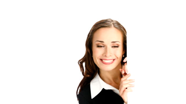 HD1080p: Businesswoman showing blank area for text or image