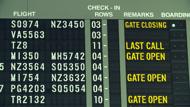 HD:Airplane flight information board at airport.