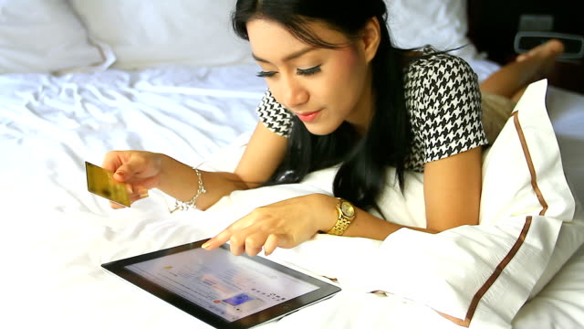 hd:asian cute women shopping online. - e commerce stock videos & royalty-free footage