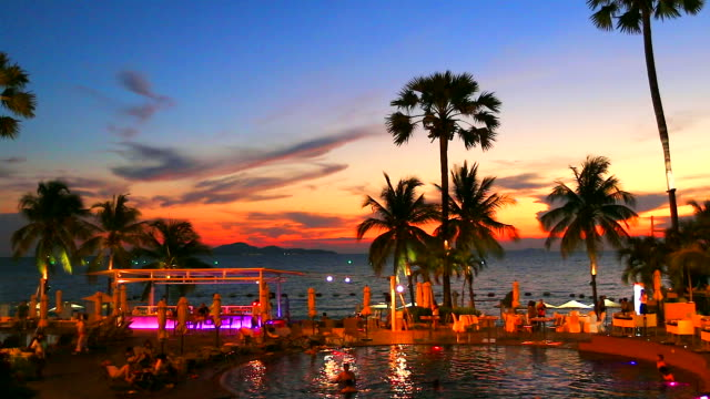 HD:Beach party after beautiful sunset.(Timelapse)