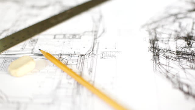 hd:blueprint work. - pencil drawing stock videos & royalty-free footage