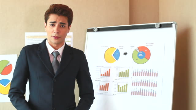 HD:Businessman presenting the project result on a whiteboard