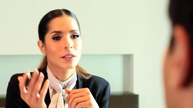 HD:Businesswoman presenting her to business partner.