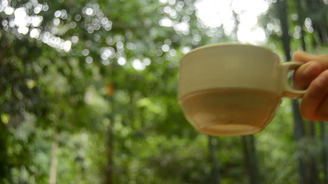 HD:coffee in de natuur met de hand voor ontspannen tijd