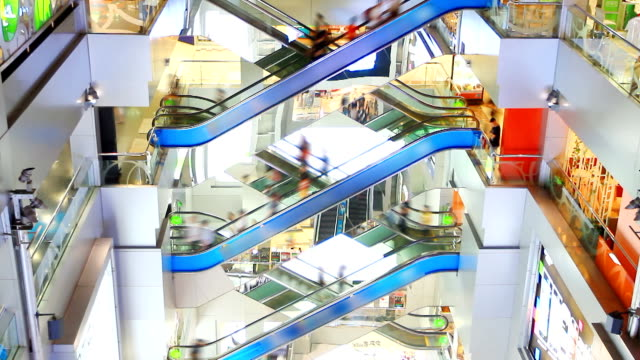 hd:crowd people moving on escalator in shopping mall. - escalator stock videos & royalty-free footage
